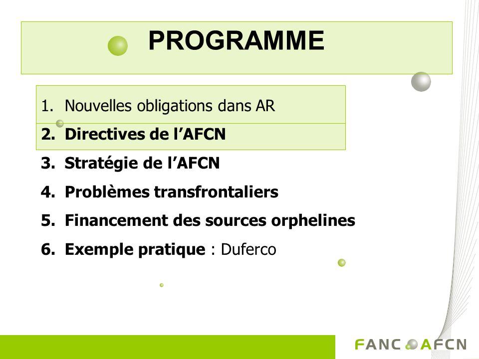 PROGRAMME 1.Nouvelles obligations dans AR 2.Directives de lAFCN 3.Stratégie de lAFCN 4.Problèmes transfrontaliers 5.Financement des sources orphelines 6.Exemple pratique : Duferco