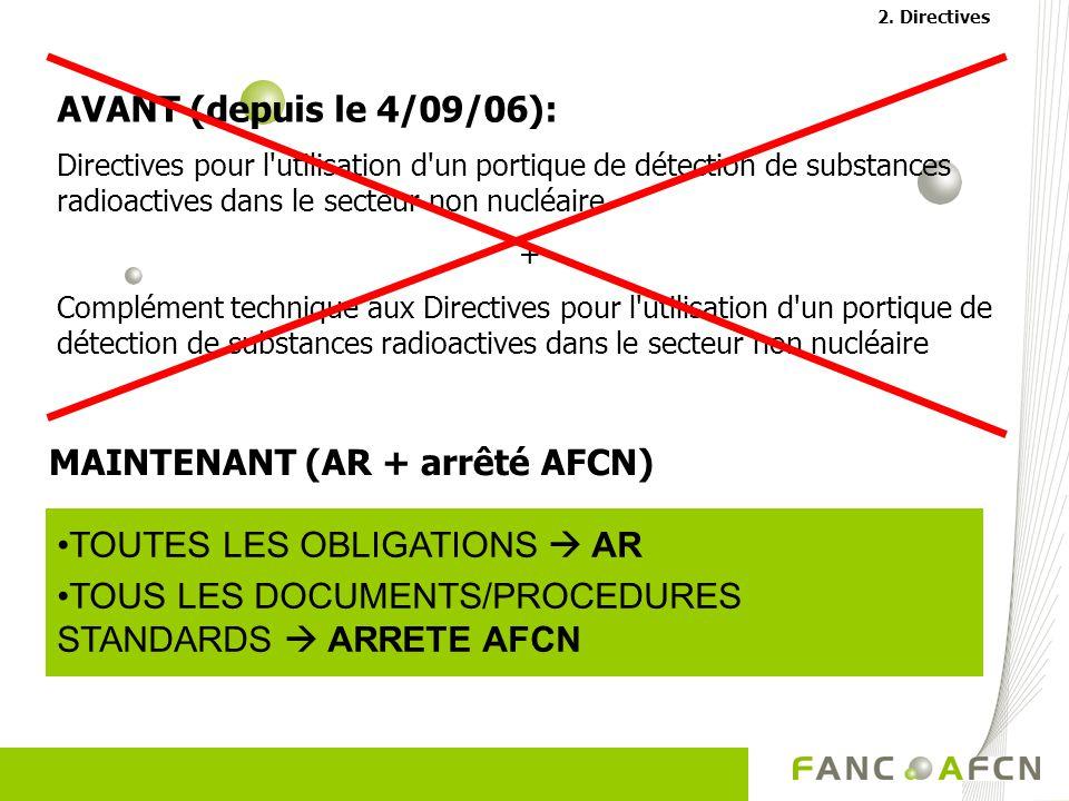 AVANT (depuis le 4/09/06): Directives pour l utilisation d un portique de détection de substances radioactives dans le secteur non nucléaire + Complément technique aux Directives pour l utilisation d un portique de détection de substances radioactives dans le secteur non nucléaire TOUTES LES OBLIGATIONS AR TOUS LES DOCUMENTS/PROCEDURES STANDARDS ARRETE AFCN MAINTENANT (AR + arrêté AFCN) 2.