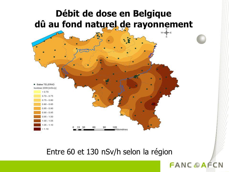 Débit de dose en Belgique dû au fond naturel de rayonnement Entre 60 et 130 nSv/h selon la région