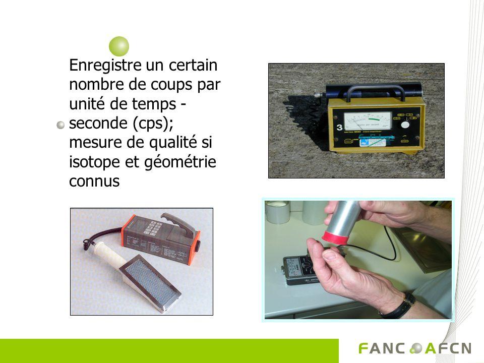 Enregistre un certain nombre de coups par unité de temps - seconde (cps); mesure de qualité si isotope et géométrie connus