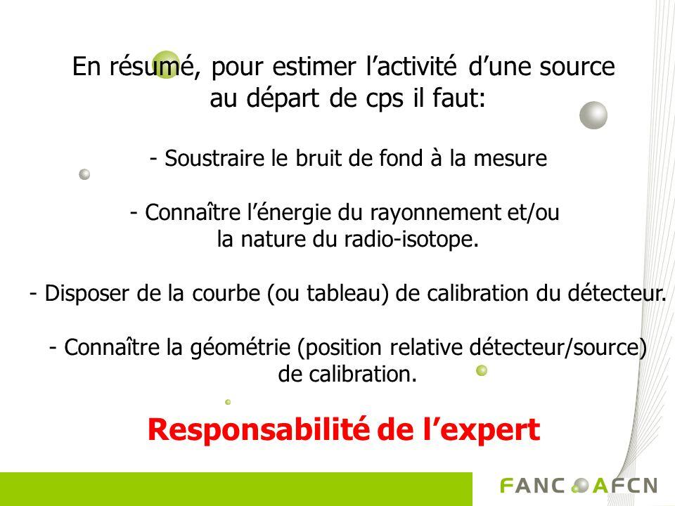 En résumé, pour estimer lactivité dune source au départ de cps il faut: - Soustraire le bruit de fond à la mesure - Connaître lénergie du rayonnement