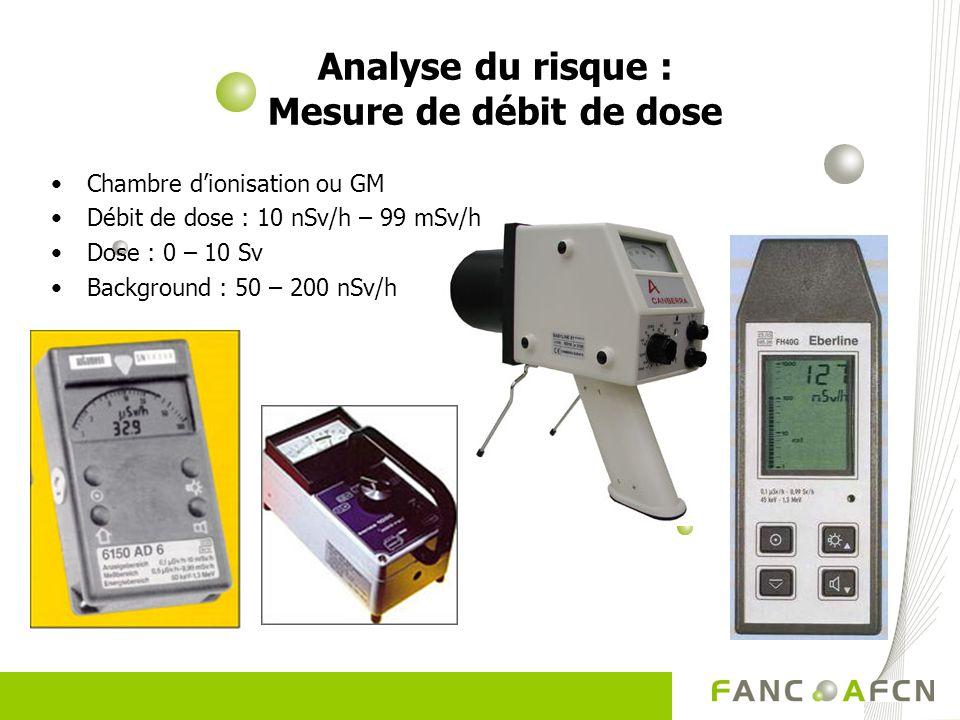 Analyse du risque : Mesure de débit de dose Chambre dionisation ou GM Débit de dose : 10 nSv/h – 99 mSv/h Dose : 0 – 10 Sv Background : 50 – 200 nSv/h