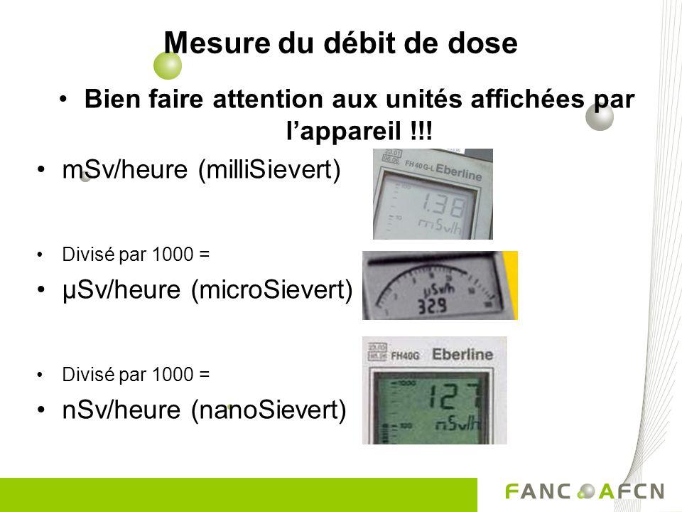 Mesure du débit de dose Bien faire attention aux unités affichées par lappareil !!! mSv/heure (milliSievert) Divisé par 1000 = µSv/heure (microSievert
