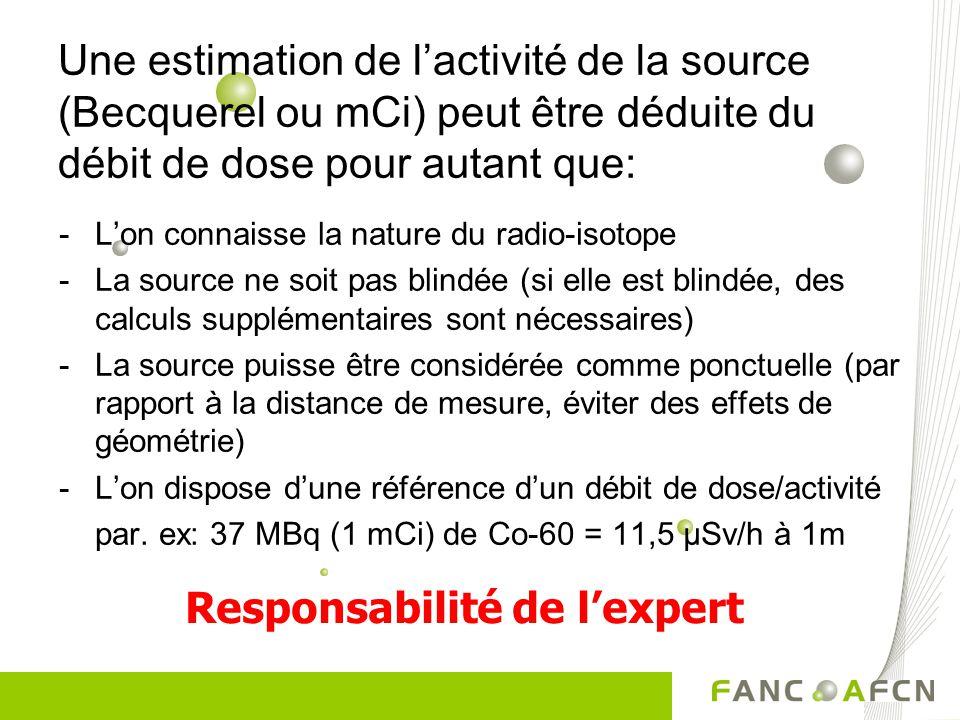 Une estimation de lactivité de la source (Becquerel ou mCi) peut être déduite du débit de dose pour autant que: -Lon connaisse la nature du radio-isot