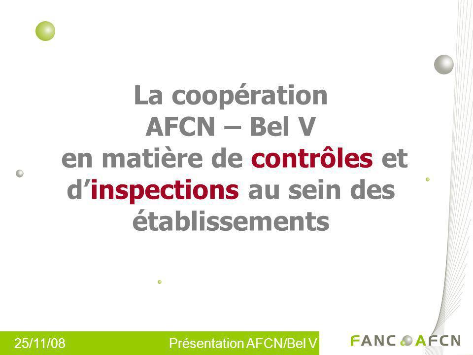 25/11/08 Présentation AFCN/Bel V La coopération AFCN – Bel V en matière de contrôles et dinspections au sein des établissements