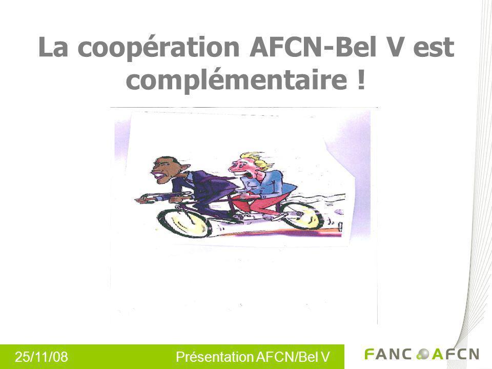 25/11/08 Présentation AFCN/Bel V La coopération AFCN-Bel V est complémentaire !