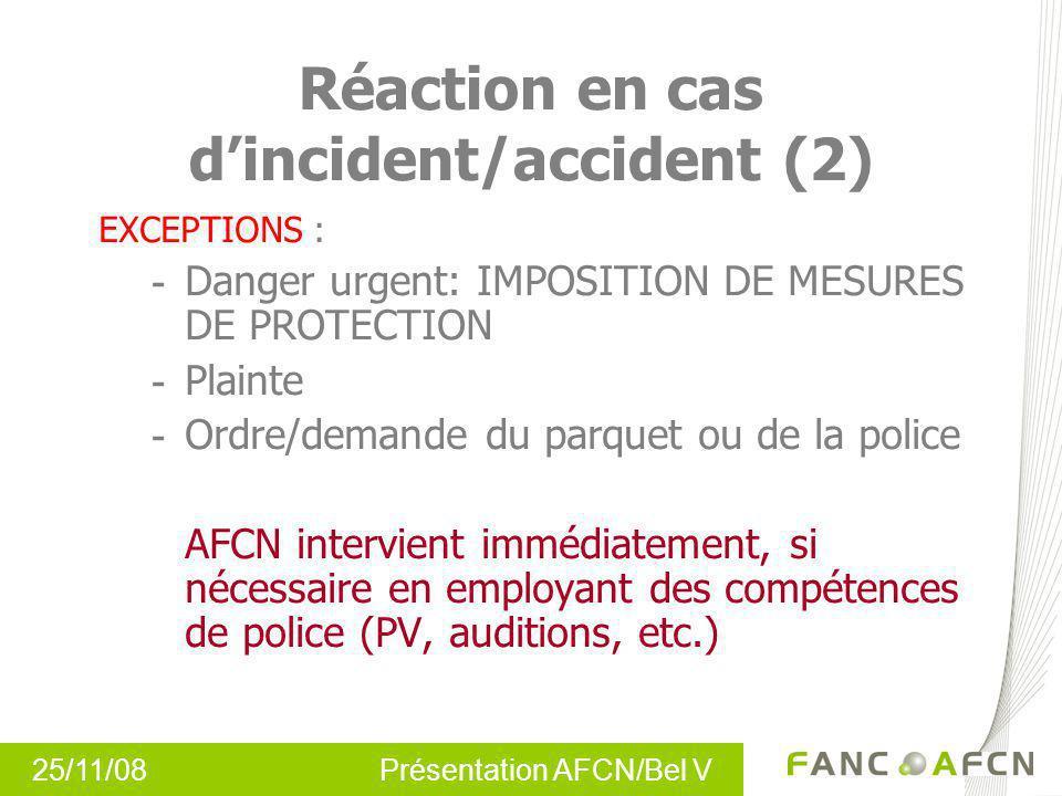 25/11/08 Présentation AFCN/Bel V Réaction en cas dincident/accident (2) EXCEPTIONS : - Danger urgent: IMPOSITION DE MESURES DE PROTECTION - Plainte -