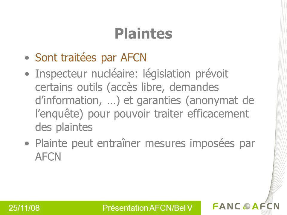 25/11/08 Présentation AFCN/Bel V Plaintes Sont traitées par AFCN Inspecteur nucléaire: législation prévoit certains outils (accès libre, demandes dinf