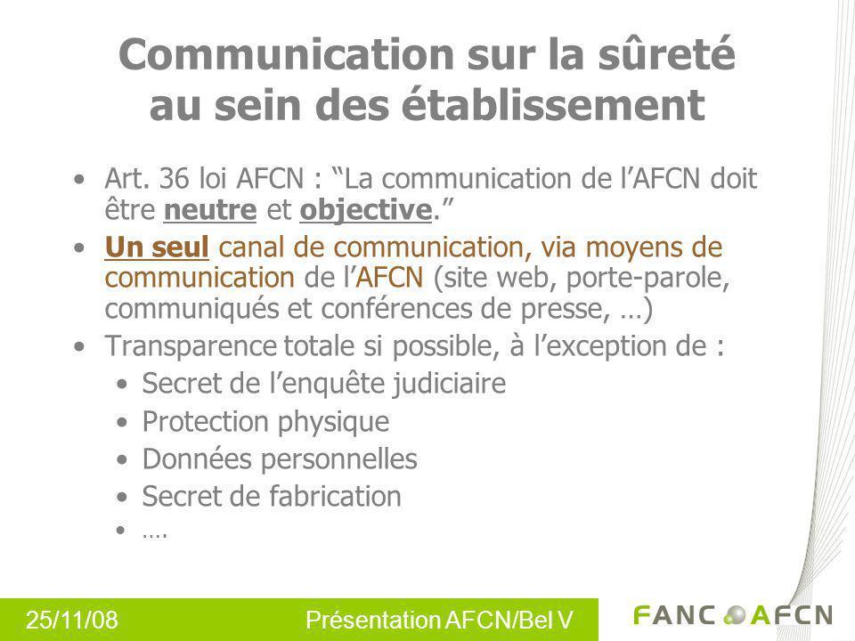 25/11/08 Présentation AFCN/Bel V Communication sur la sûreté au sein des établissement Art. 36 loi AFCN : La communication de lAFCN doit être neutre e