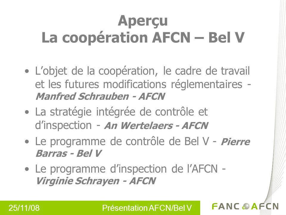 25/11/08 Présentation AFCN/Bel V Aperçu La coopération AFCN – Bel V Lobjet de la coopération, le cadre de travail et les futures modifications régleme