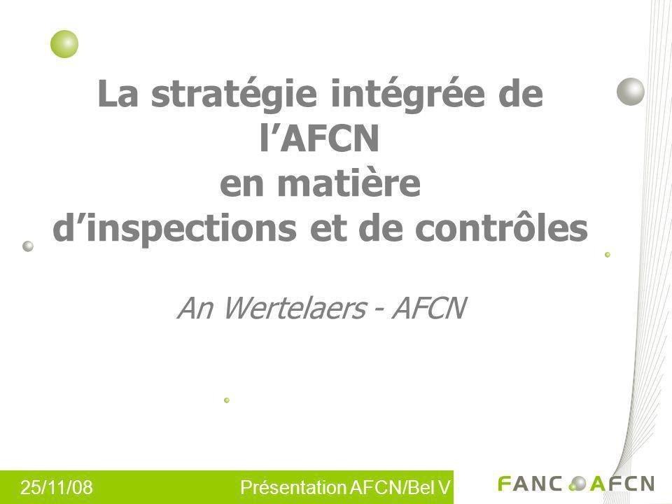 La stratégie intégrée de lAFCN en matière dinspections et de contrôles An Wertelaers - AFCN