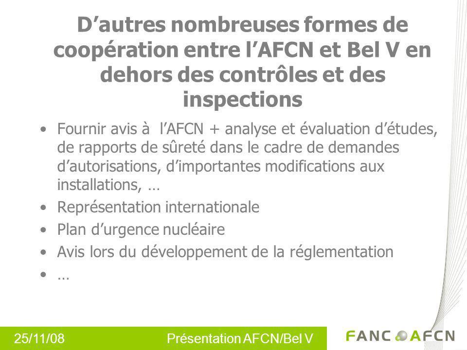 25/11/08 Présentation AFCN/Bel V Dautres nombreuses formes de coopération entre lAFCN et Bel V en dehors des contrôles et des inspections Fournir avis