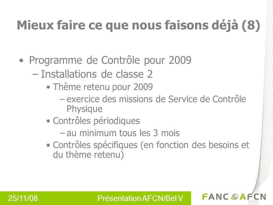 25/11/08 Présentation AFCN/Bel V Programme de Contrôle pour 2009 –Installations de classe 2 Thème retenu pour 2009 –exercice des missions de Service d