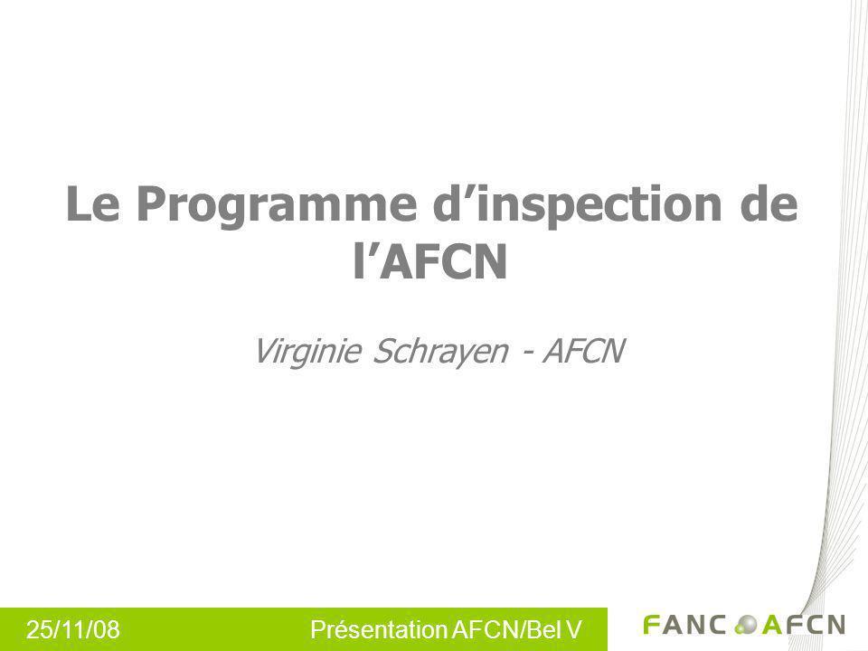Le Programme dinspection de lAFCN Virginie Schrayen - AFCN