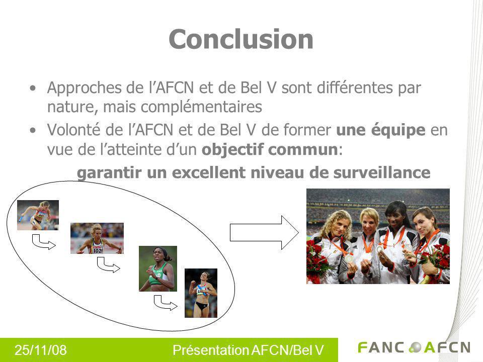 25/11/08 Présentation AFCN/Bel V Approches de lAFCN et de Bel V sont différentes par nature, mais complémentaires Volonté de lAFCN et de Bel V de form