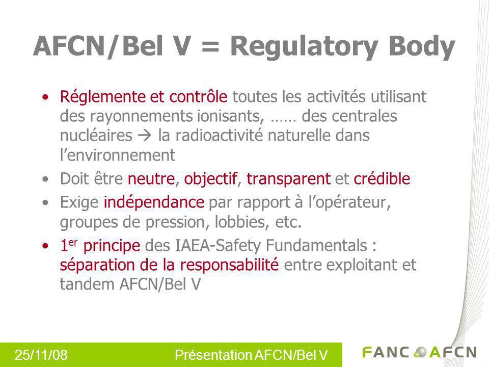25/11/08 Présentation AFCN/Bel V AFCN/Bel V = Regulatory Body Réglemente et contrôle toutes les activités utilisant des rayonnements ionisants, …… des