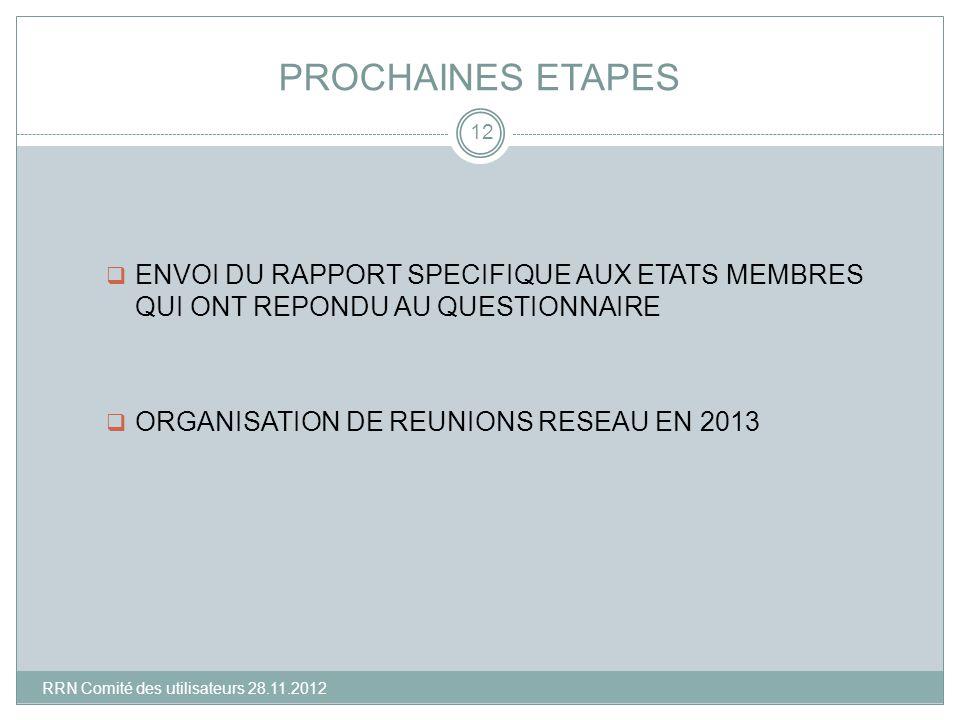 PROCHAINES ETAPES ENVOI DU RAPPORT SPECIFIQUE AUX ETATS MEMBRES QUI ONT REPONDU AU QUESTIONNAIRE ORGANISATION DE REUNIONS RESEAU EN 2013 12 RRN Comité