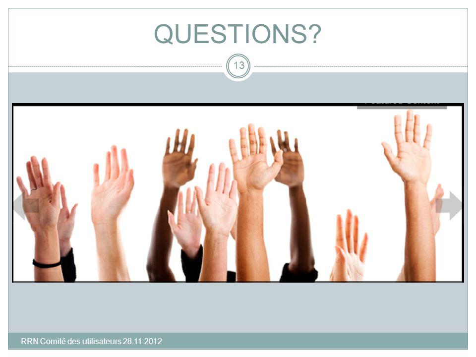 QUESTIONS? 13 RRN Comité des utilisateurs 28.11.2012