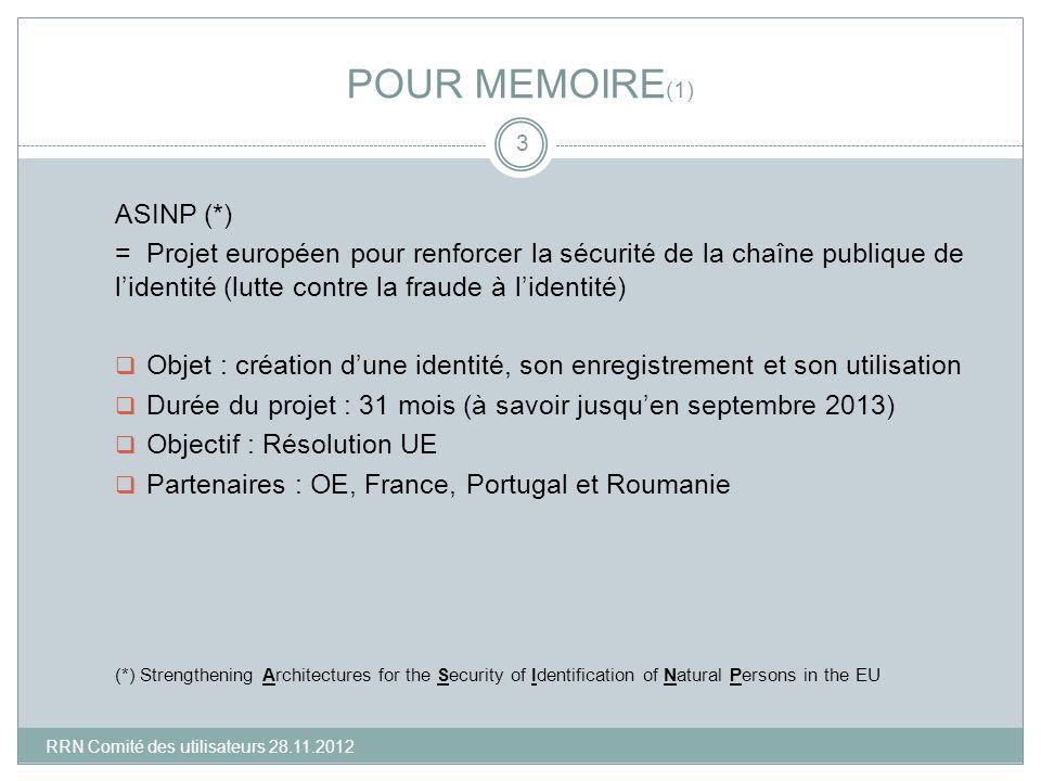 POUR MEMOIRE (1) ASINP (*) = Projet européen pour renforcer la sécurité de la chaîne publique de lidentité (lutte contre la fraude à lidentité) Objet
