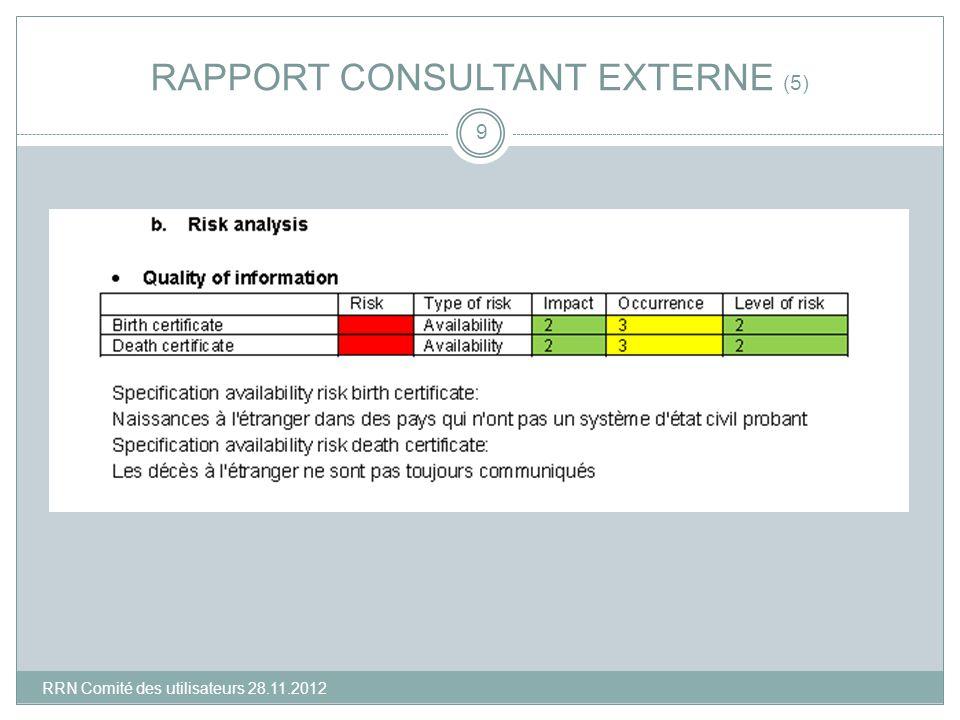 RAPPORT CONSULTANT EXTERNE (5) 9 RRN Comité des utilisateurs 28.11.2012