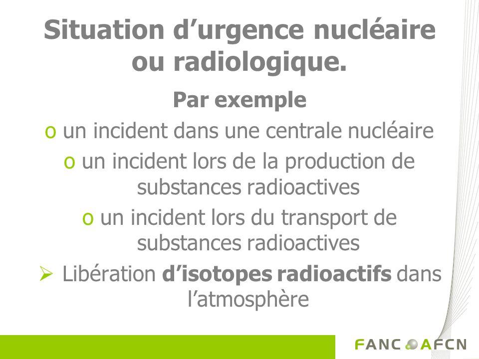 Situation durgence nucléaire ou radiologique. Par exemple oun incident dans une centrale nucléaire oun incident lors de la production de substances ra