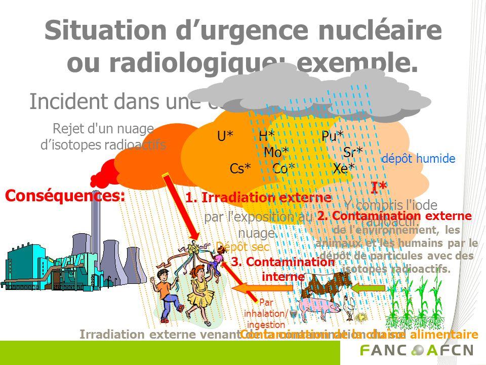 Situation durgence nucléaire ou radiologique: exemple. Incident dans une centrale nucléaire U* H* Pu* Mo* Sr* Cs* Co* Xe* I* Rejet d'un nuage disotope