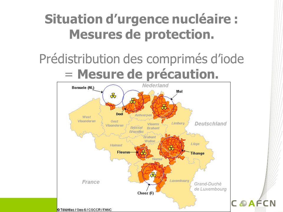 Situation durgence nucléaire : Mesures de protection. Prédistribution des comprimés diode = Mesure de précaution.