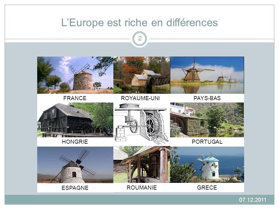 LEurope est riche en différences FRANCE GRECE ESPAGNE PAYS-BASROYAUME-UNI PORTUGALHONGRIE ROUMANIE 07.12.2011 2