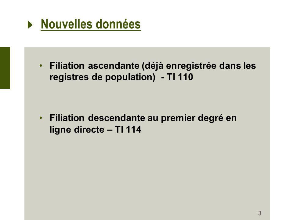 Nouvelles données Filiation ascendante (déjà enregistrée dans les registres de population) - TI 110 Filiation descendante au premier degré en ligne directe – TI 114 3