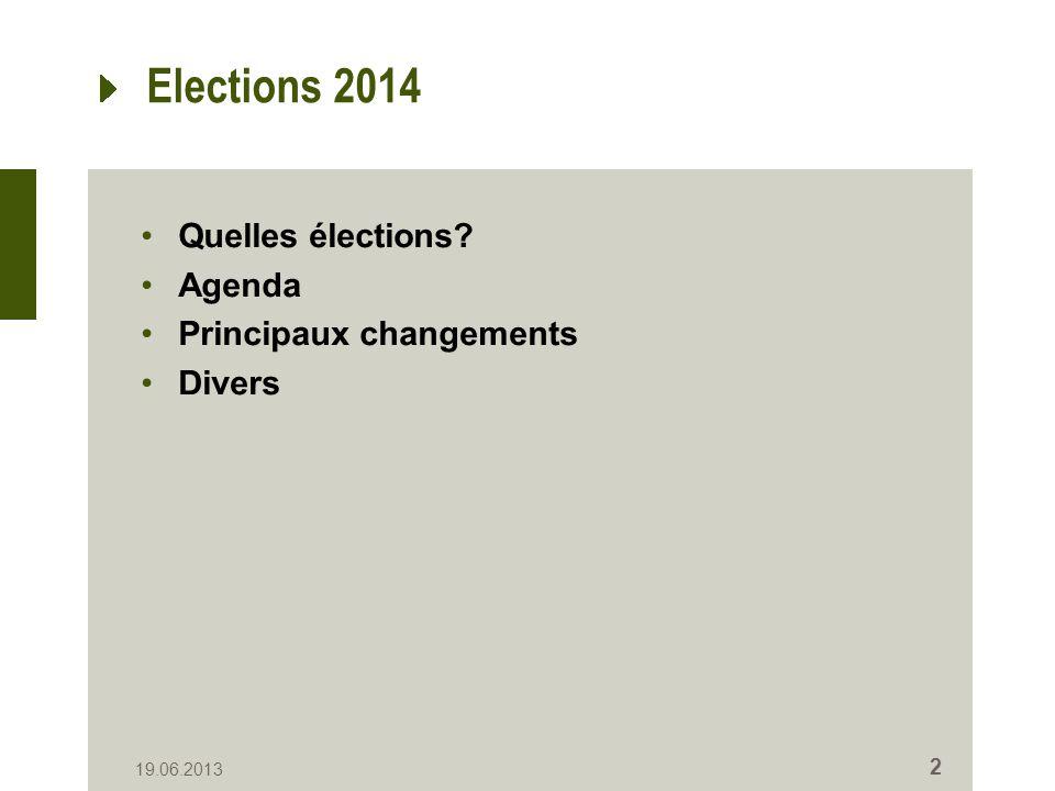 Elections 2014 Quelles élections? Agenda Principaux changements Divers 19.06.2013 2