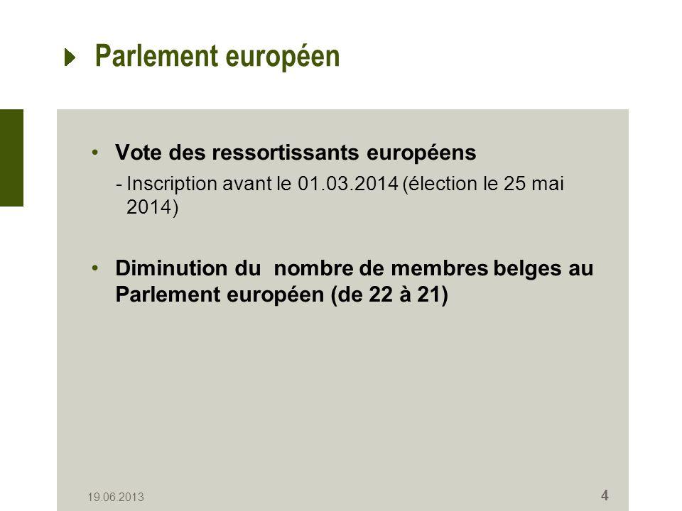 Parlement européen Vote des ressortissants européens -Inscription avant le 01.03.2014 (élection le 25 mai 2014) Diminution du nombre de membres belges au Parlement européen (de 22 à 21) 19.06.2013 4