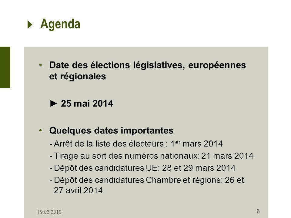 6 Agenda Date des élections législatives, européennes et régionales 25 mai 2014 Quelques dates importantes -Arrêt de la liste des électeurs : 1 er mars 2014 -Tirage au sort des numéros nationaux: 21 mars 2014 -Dépôt des candidatures UE: 28 et 29 mars 2014 -Dépôt des candidatures Chambre et régions: 26 et 27 avril 2014