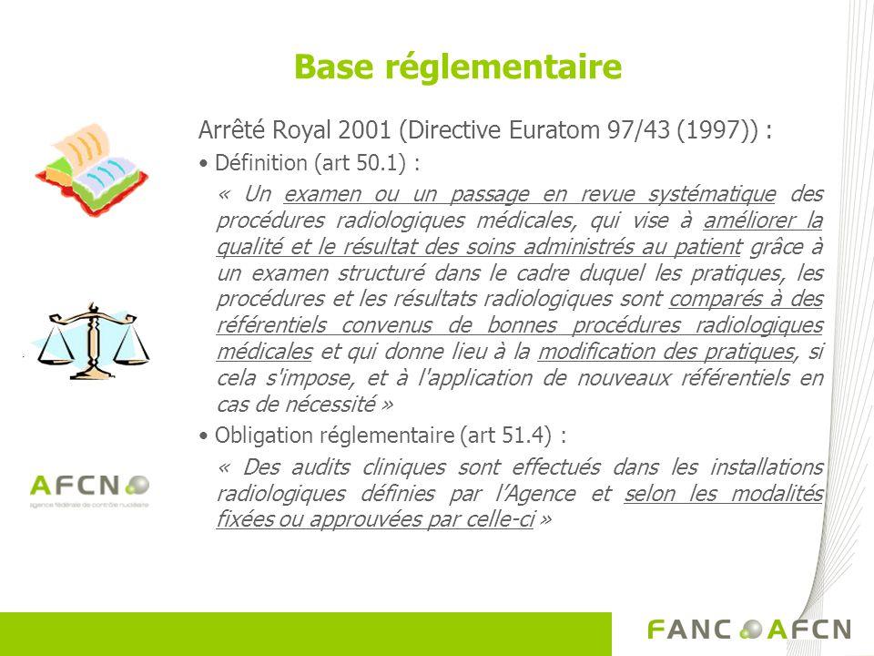Arrêté Royal 2001 (Directive Euratom 97/43 (1997)) : Définition (art 50.1) : « Un examen ou un passage en revue systématique des procédures radiologiques médicales, qui vise à améliorer la qualité et le résultat des soins administrés au patient grâce à un examen structuré dans le cadre duquel les pratiques, les procédures et les résultats radiologiques sont comparés à des référentiels convenus de bonnes procédures radiologiques médicales et qui donne lieu à la modification des pratiques, si cela s impose, et à l application de nouveaux référentiels en cas de nécessité » Obligation réglementaire (art 51.4) : « Des audits cliniques sont effectués dans les installations radiologiques définies par lAgence et selon les modalités fixées ou approuvées par celle-ci » Base réglementaire