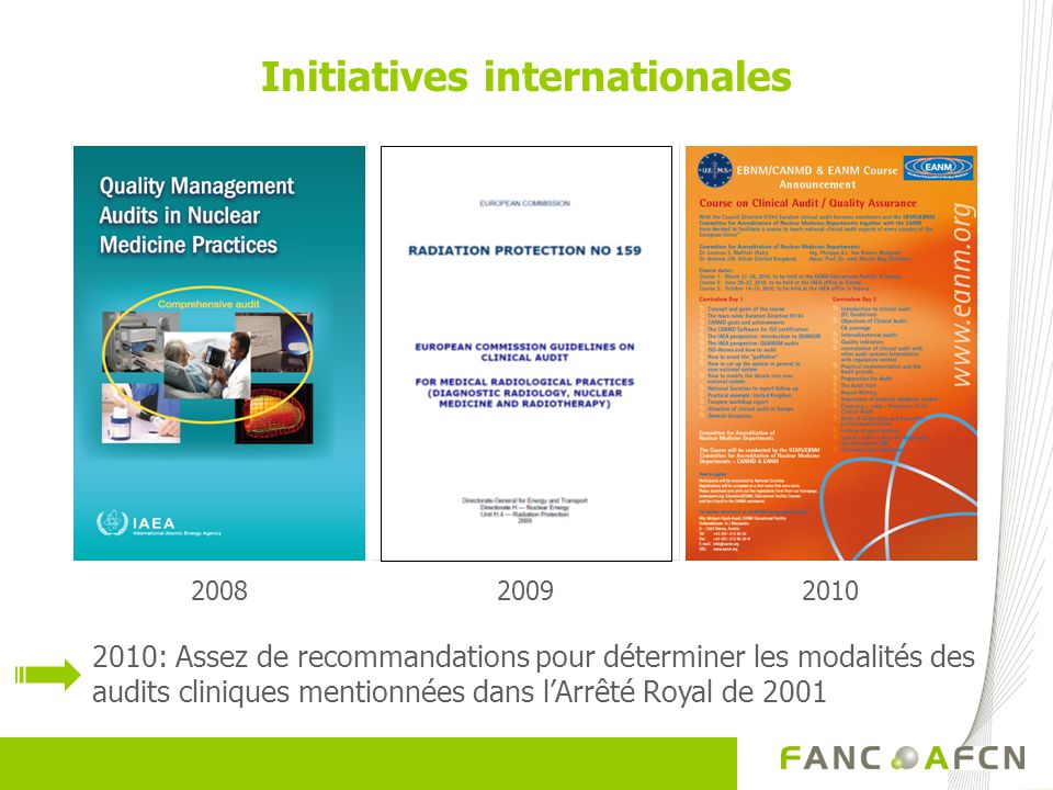 20092010 Initiatives internationales 2008 2010: Assez de recommandations pour déterminer les modalités des audits cliniques mentionnées dans lArrêté Royal de 2001