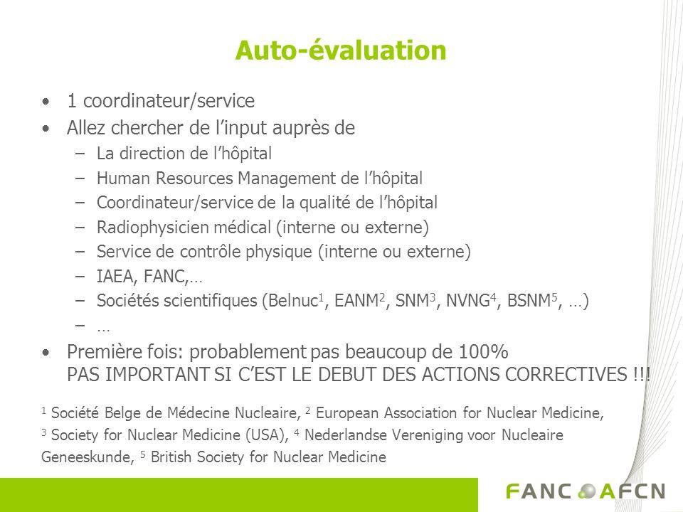 1 coordinateur/service Allez chercher de linput auprès de –La direction de lhôpital –Human Resources Management de lhôpital –Coordinateur/service de la qualité de lhôpital –Radiophysicien médical (interne ou externe) –Service de contrôle physique (interne ou externe) –IAEA, FANC,… –Sociétés scientifiques (Belnuc 1, EANM 2, SNM 3, NVNG 4, BSNM 5, …) –… Première fois: probablement pas beaucoup de 100% PAS IMPORTANT SI CEST LE DEBUT DES ACTIONS CORRECTIVES !!.