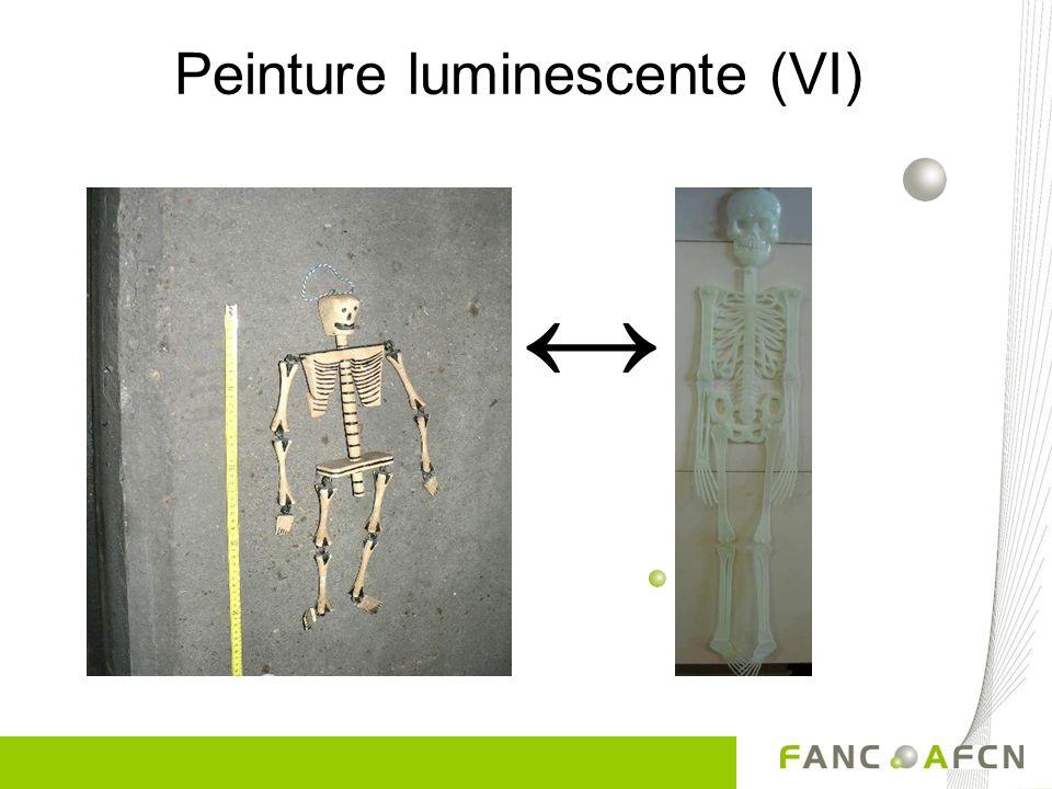 Peinture luminescente (V) Radium 80 µSv/h Peinture au radium
