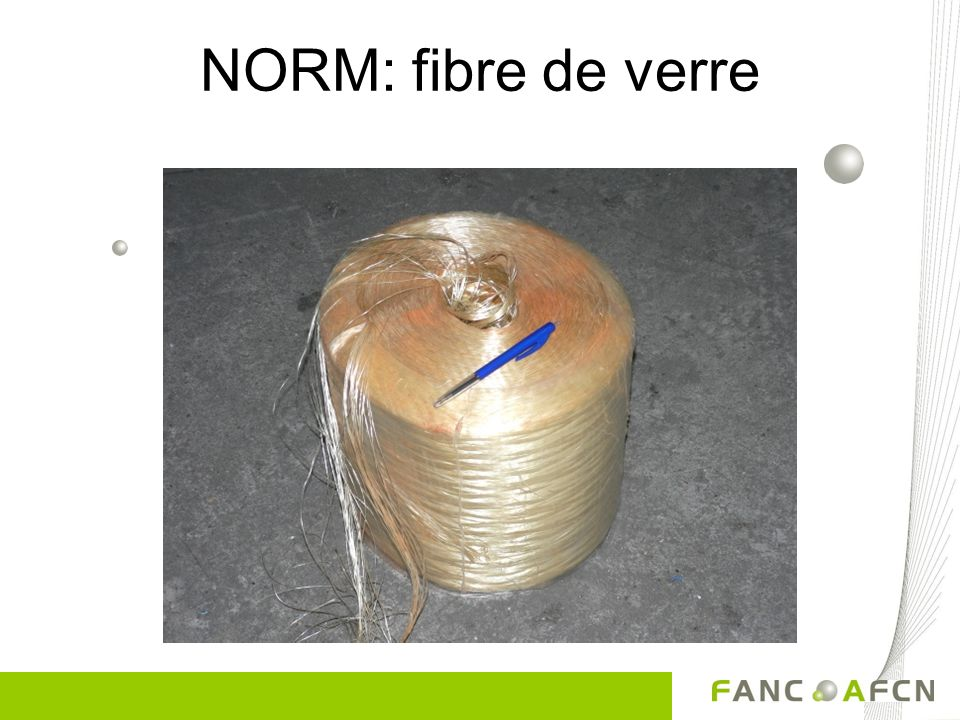 NORM: laine de roche Thorium 0,5 – 2 µSv/h