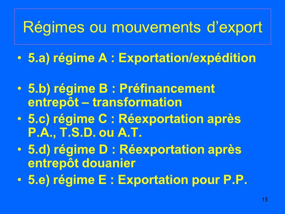 15 Régimes ou mouvements dexport 5.a) régime A : Exportation/expédition 5.b) régime B : Préfinancement entrepôt – transformation 5.c) régime C : Réexportation après P.A., T.S.D.
