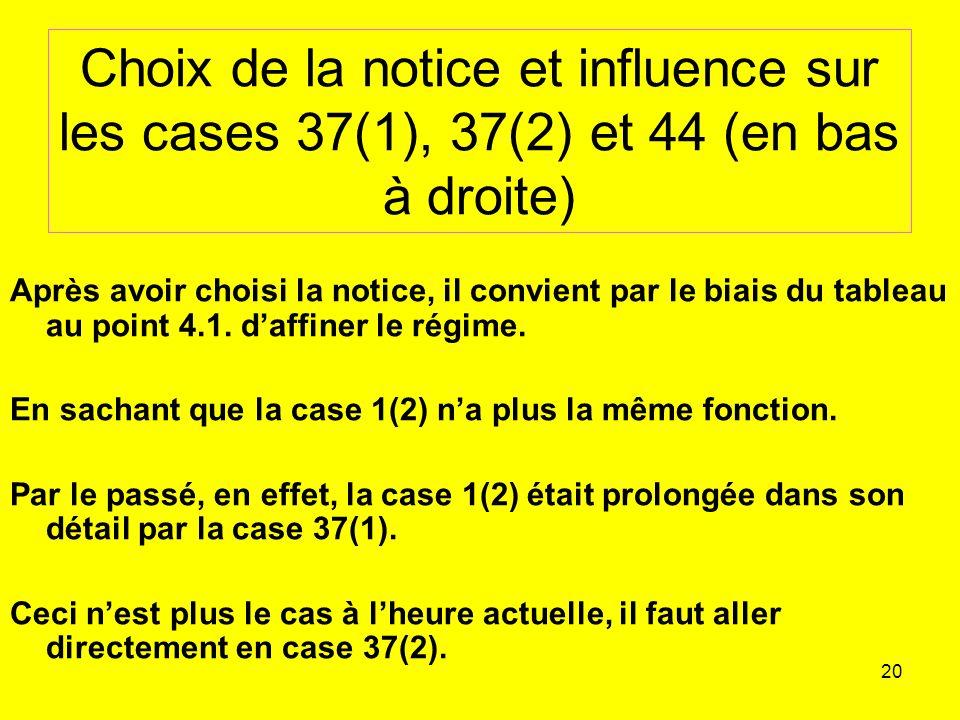 20 Choix de la notice et influence sur les cases 37(1), 37(2) et 44 (en bas à droite) Après avoir choisi la notice, il convient par le biais du tableau au point 4.1.
