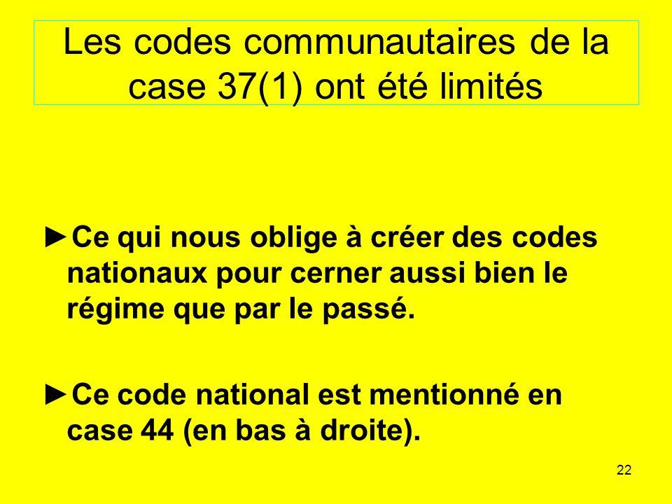 22 Les codes communautaires de la case 37(1) ont été limités Ce qui nous oblige à créer des codes nationaux pour cerner aussi bien le régime que par le passé.