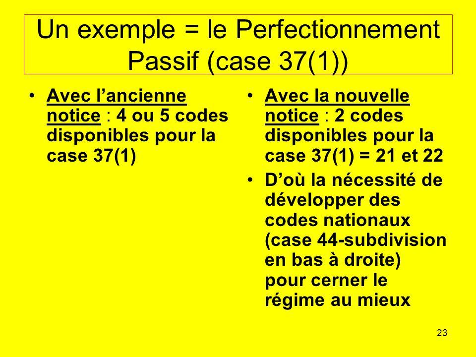 23 Un exemple = le Perfectionnement Passif (case 37(1)) Avec lancienne notice : 4 ou 5 codes disponibles pour la case 37(1) Avec la nouvelle notice : 2 codes disponibles pour la case 37(1) = 21 et 22 Doù la nécessité de développer des codes nationaux (case 44-subdivision en bas à droite) pour cerner le régime au mieux