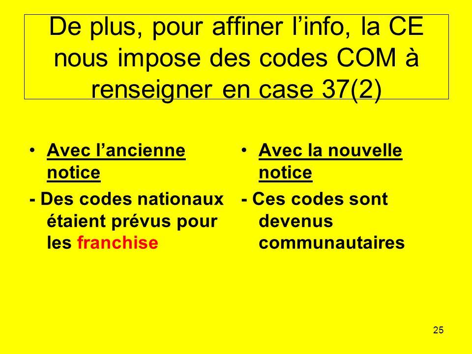 25 De plus, pour affiner linfo, la CE nous impose des codes COM à renseigner en case 37(2) Avec lancienne notice - Des codes nationaux étaient prévus pour les franchise Avec la nouvelle notice - Ces codes sont devenus communautaires