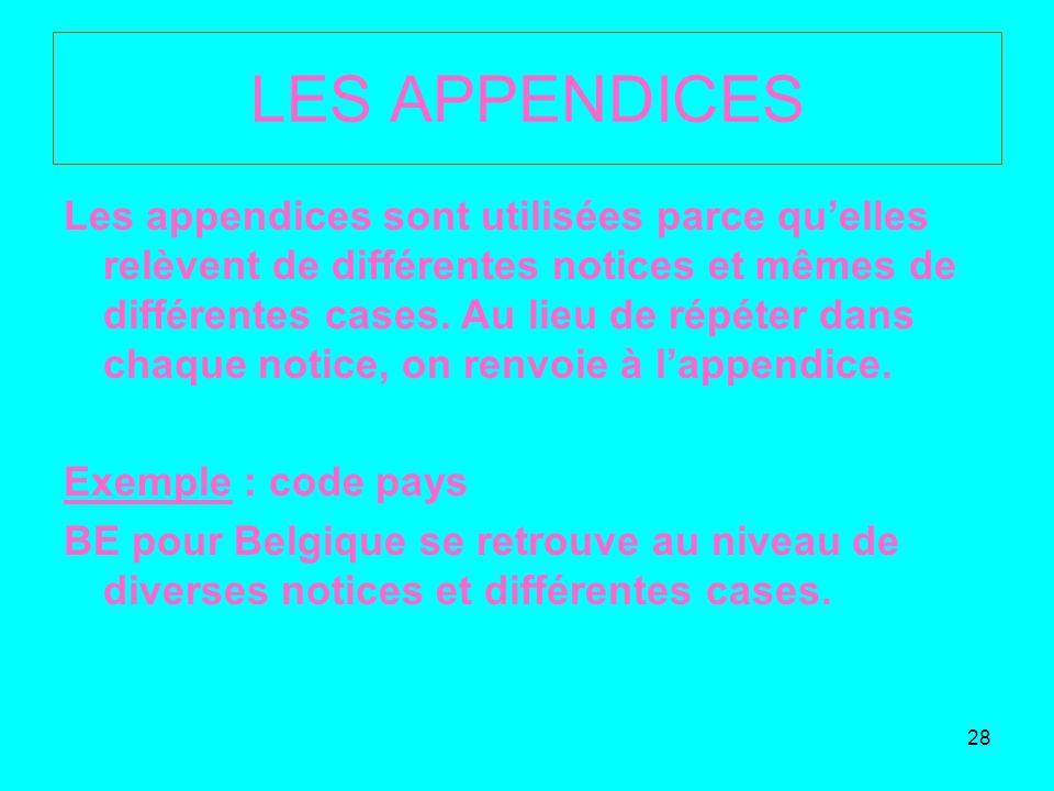 28 LES APPENDICES Les appendices sont utilisées parce quelles relèvent de différentes notices et mêmes de différentes cases.