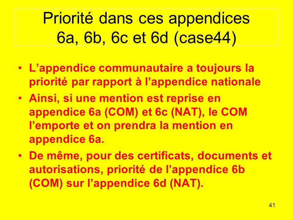 41 Priorité dans ces appendices 6a, 6b, 6c et 6d (case44) Lappendice communautaire a toujours la priorité par rapport à lappendice nationale Ainsi, si une mention est reprise en appendice 6a (COM) et 6c (NAT), le COM lemporte et on prendra la mention en appendice 6a.