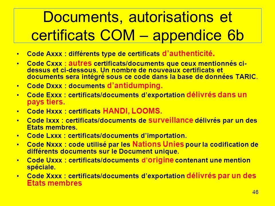 46 Documents, autorisations et certificats COM – appendice 6b Code Axxx : différents type de certificats dauthenticité.