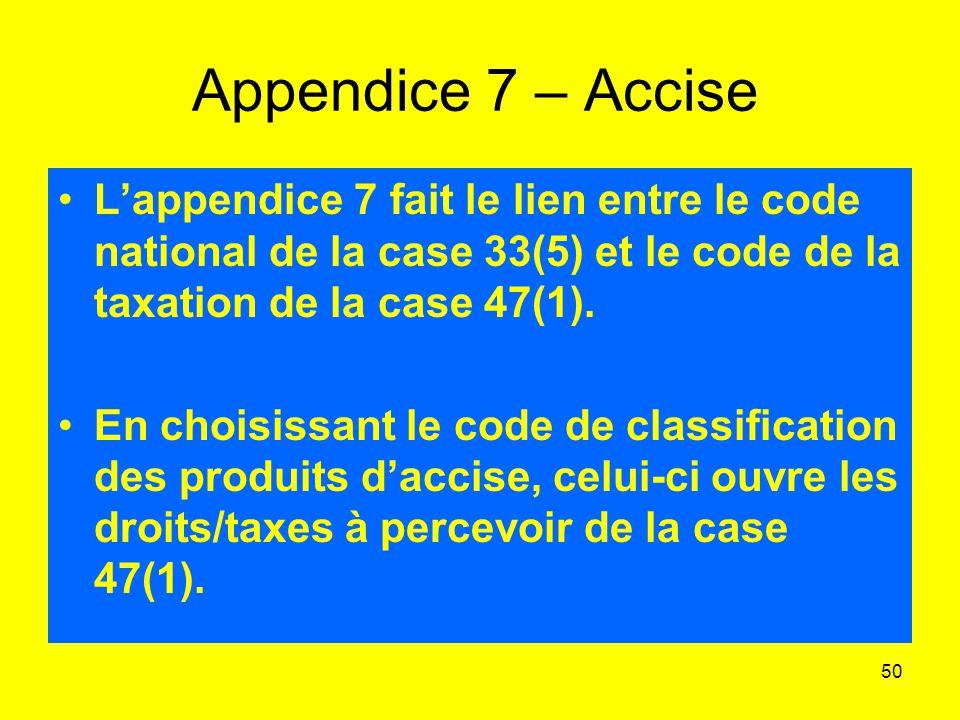 50 Appendice 7 – Accise Lappendice 7 fait le lien entre le code national de la case 33(5) et le code de la taxation de la case 47(1).