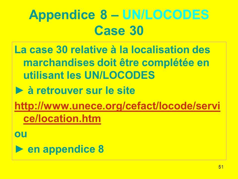 51 Appendice 8 – UN/LOCODES Case 30 La case 30 relative à la localisation des marchandises doit être complétée en utilisant les UN/LOCODES à retrouver sur le site http://www.unece.org/cefact/locode/servi ce/location.htm ou en appendice 8
