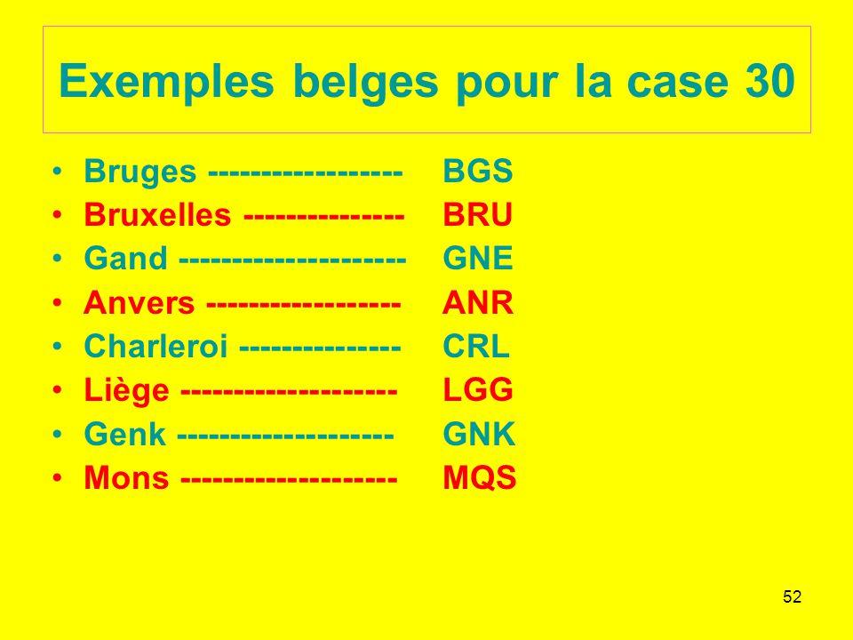 52 Exemples belges pour la case 30 Bruges ------------------ Bruxelles --------------- Gand --------------------- Anvers ------------------ Charleroi --------------- Liège -------------------- Genk -------------------- Mons -------------------- BGS BRU GNE ANR CRL LGG GNK MQS