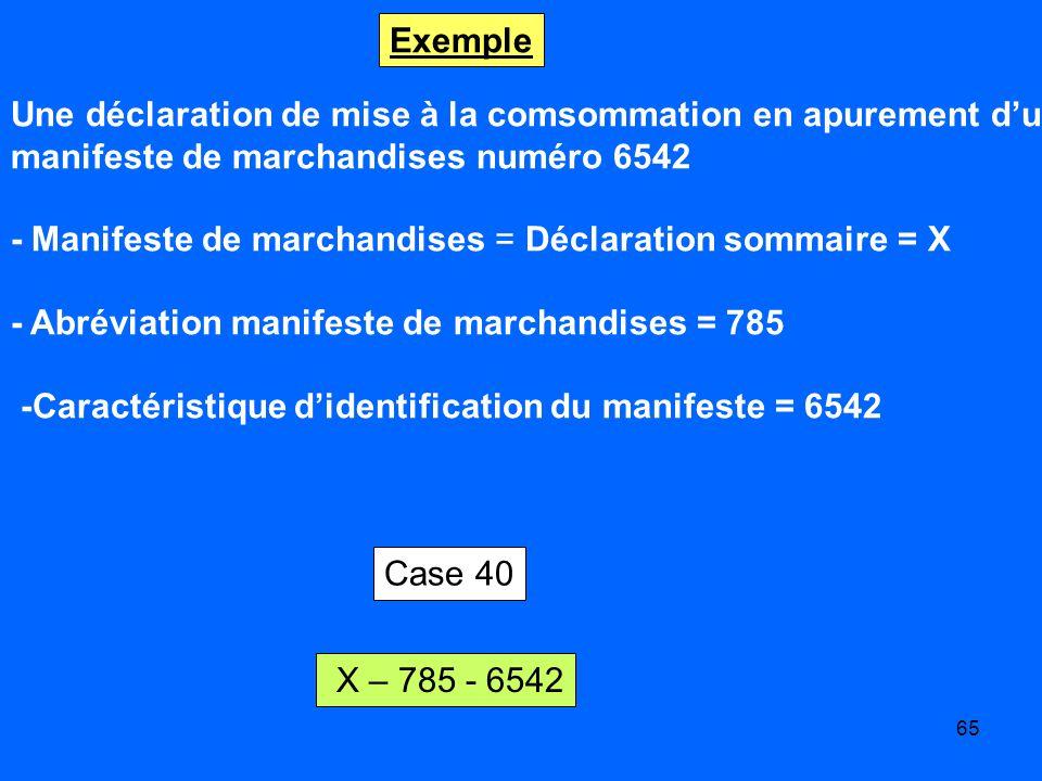 65 Exemple Une déclaration de mise à la comsommation en apurement dun manifeste de marchandises numéro 6542 - Manifeste de marchandises = Déclaration sommaire = X - Abréviation manifeste de marchandises = 785 -Caractéristique didentification du manifeste = 6542 X – 785 - 6542 Case 40