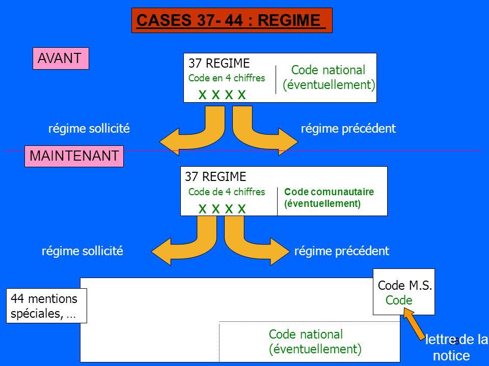 66 37 REGIME Code en 4 chiffres x x x x régime précédentrégime sollicité Code national (éventuellement) 44 mentions spéciales, … Code M.S.